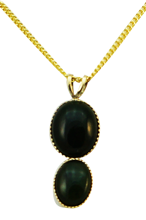 Greenstone & 9ct Gold Drop Pendant