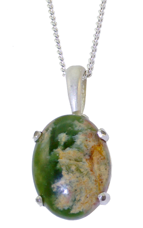Silver Drop Pendant with Cabochon