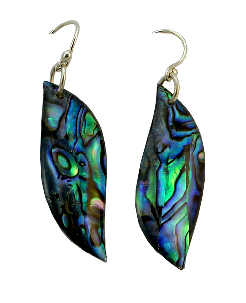 Long Leaf Paua Earrings