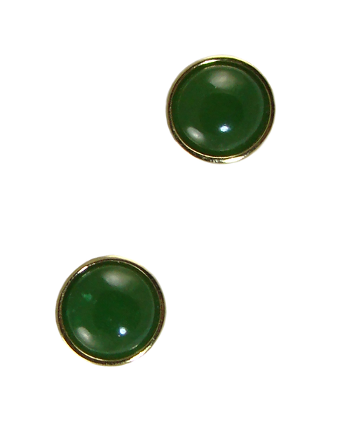 Round Stud Earrings with Cabochon