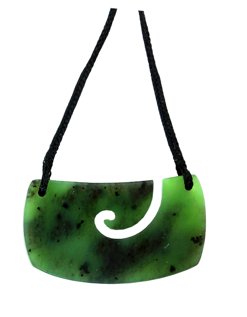 Greenstone (NZ Jade) Koru Breastplate Matte Finish