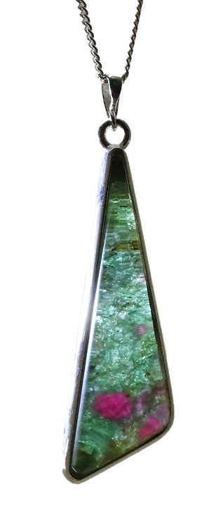 Ruby Rock Drop Triangular Pendant set in Sterling Silver