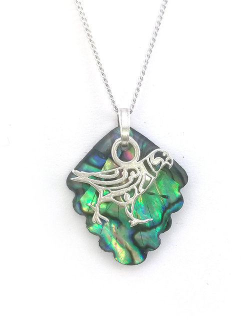 Paua Pendant with Sterling Silver Kea