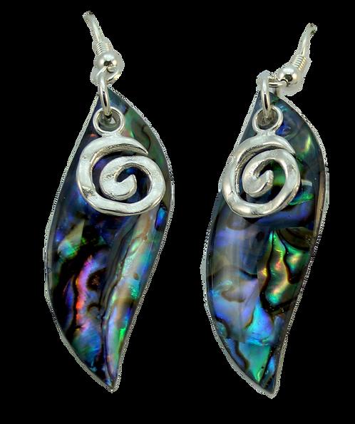 Long Paua Earring with Sterling Silver Koru Overlay