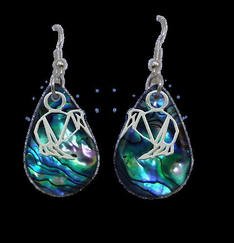 Paua Earrings with Kiwi