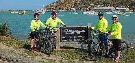 Cyclists standing  on the foreshore of Lake Pukaki