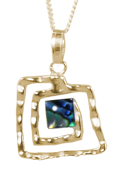 Square Koru Pendant with Cabochon