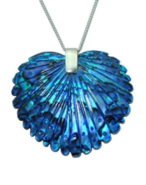 Peacock Tail Paua Sterling Silver Pendant.