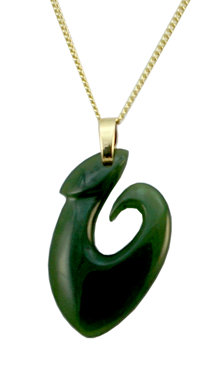 NZ Greenstone Fish Hook with 9ct gold bail