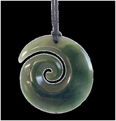 Polished 45mm Greensone (NZ Jade) Koru