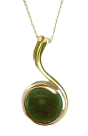 9ct Gold Pendant with Jade Cabochon