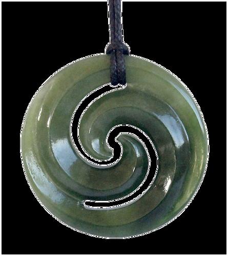 Polished Greenstone (NZ Jade) Double Koru Disc