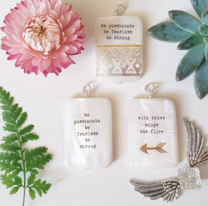 inspiration pendants mother of pearl quotes design