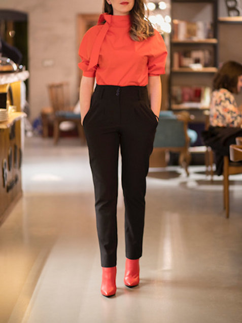 High-waisted Black Trousers