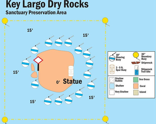 NOAA Site Map of the Christ of the Abyss Statue in Key Largo Florida