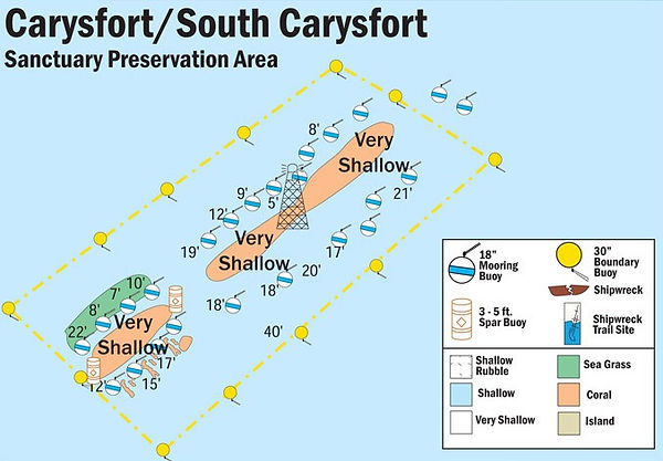 NOAA site map for Carysfort Lighthouse Reef in Key Largo Florida