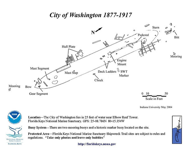 Cit of Washinton Ship Wreck Site Map