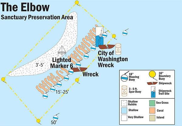 Popular Snorkeling Location in Key Largo FL. NOAA Site map
