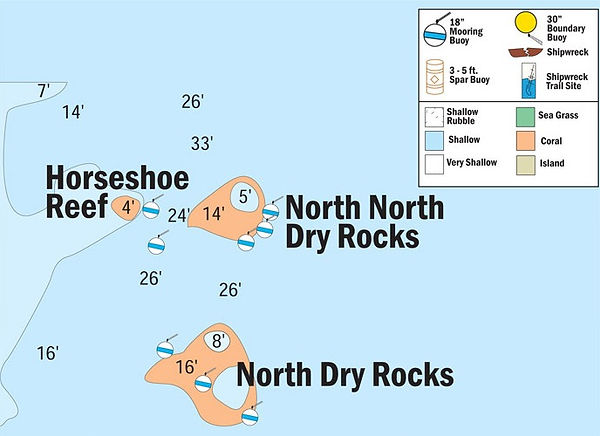 North Dryt Rocks snorkel location site map