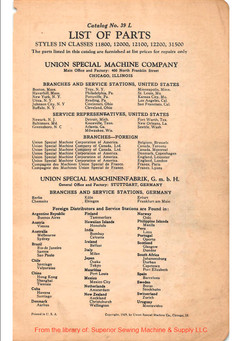 list of parts, sewing machine, 1929