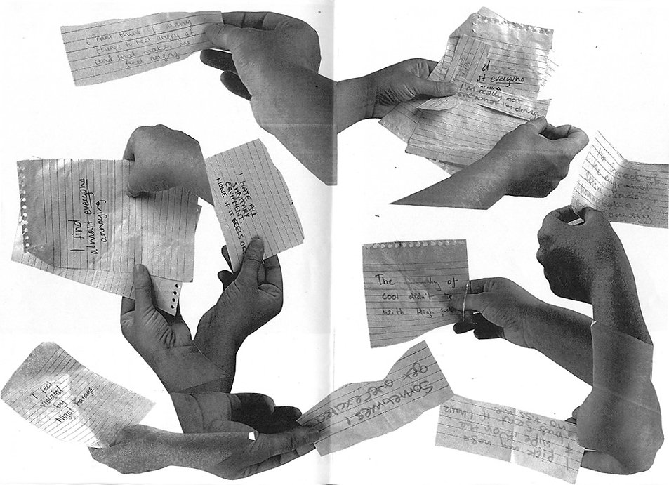 Image Description: A monochrome cllage of hands holding scraps of notebook paper with handwritten notes on them.