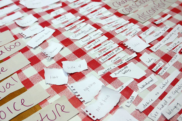 Brainstormed words written in different sizes and handwriting sit on top of a gingham red checked, wipe cean table cloth. Words include: dscomfort, out of turn, ham fisted, crutch, repetition, holy, holes, awareness belly.