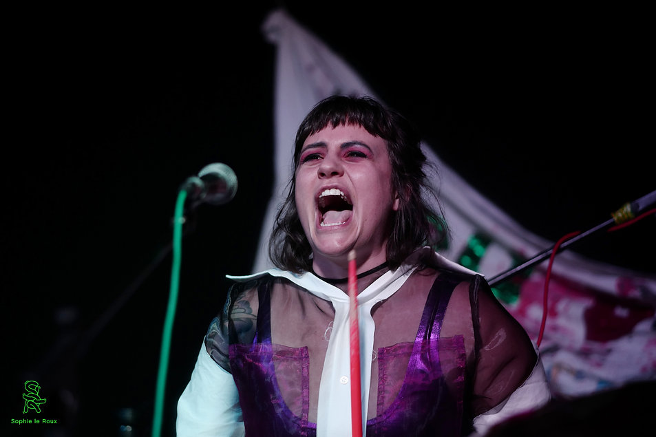 Kerri wears a passionate expression as she screams into the distance while performing at the I HATE IT BUT IT'S FREE launch.