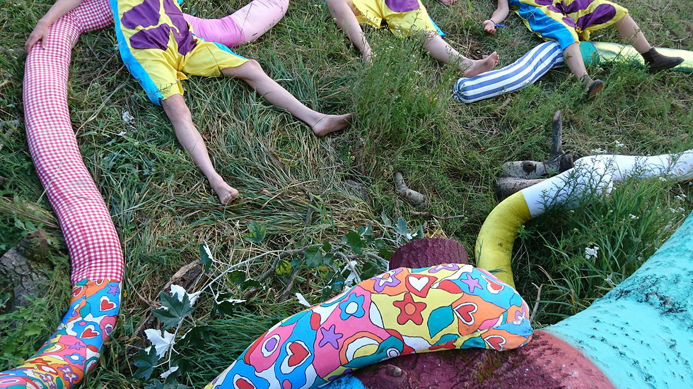 Image Description: The band lie on the grass, dressed in colourful outfits comprised of bright illustrations.