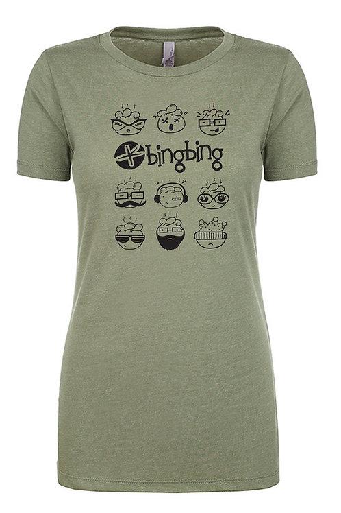 Bing Bing Womens T-Shirt Olive Green