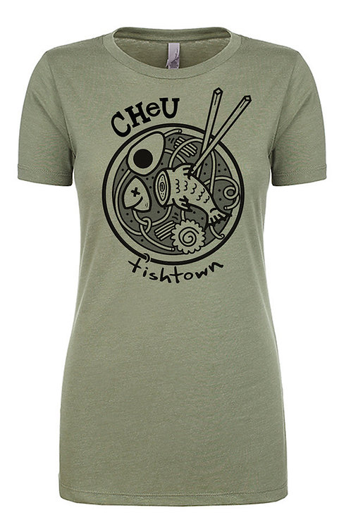 Cheu Fishtown Olive Green Womens T-Shirt