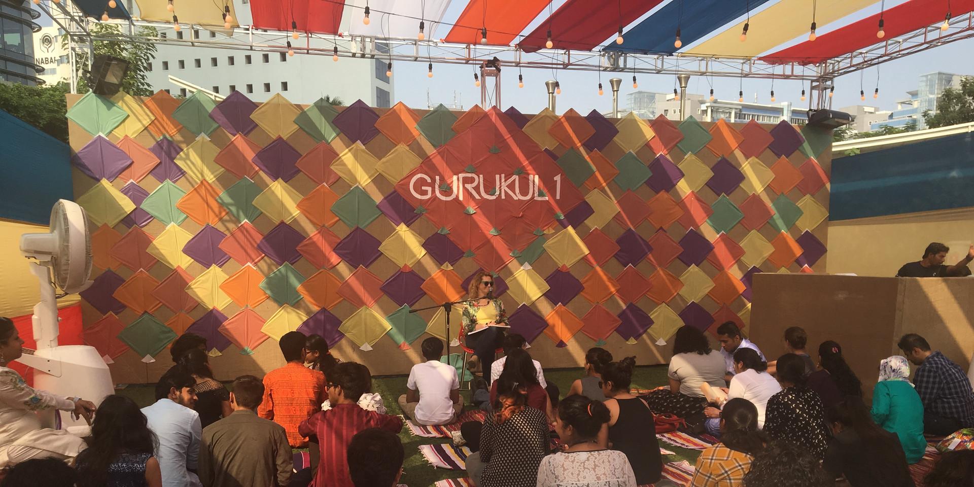 Margot on stage at Spoken Fest, Mumbai