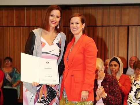 Federal Govt. Award Ceremony. Maddie & Minister Thwaite