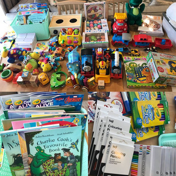 Some of the toys for visiting siblings.j