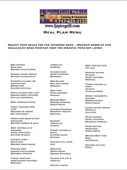 Weekly meal plan base menu