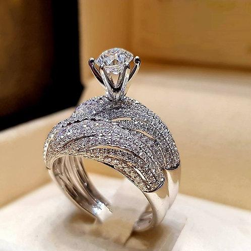 Trendy Crystal Ring Set Wedding Rings