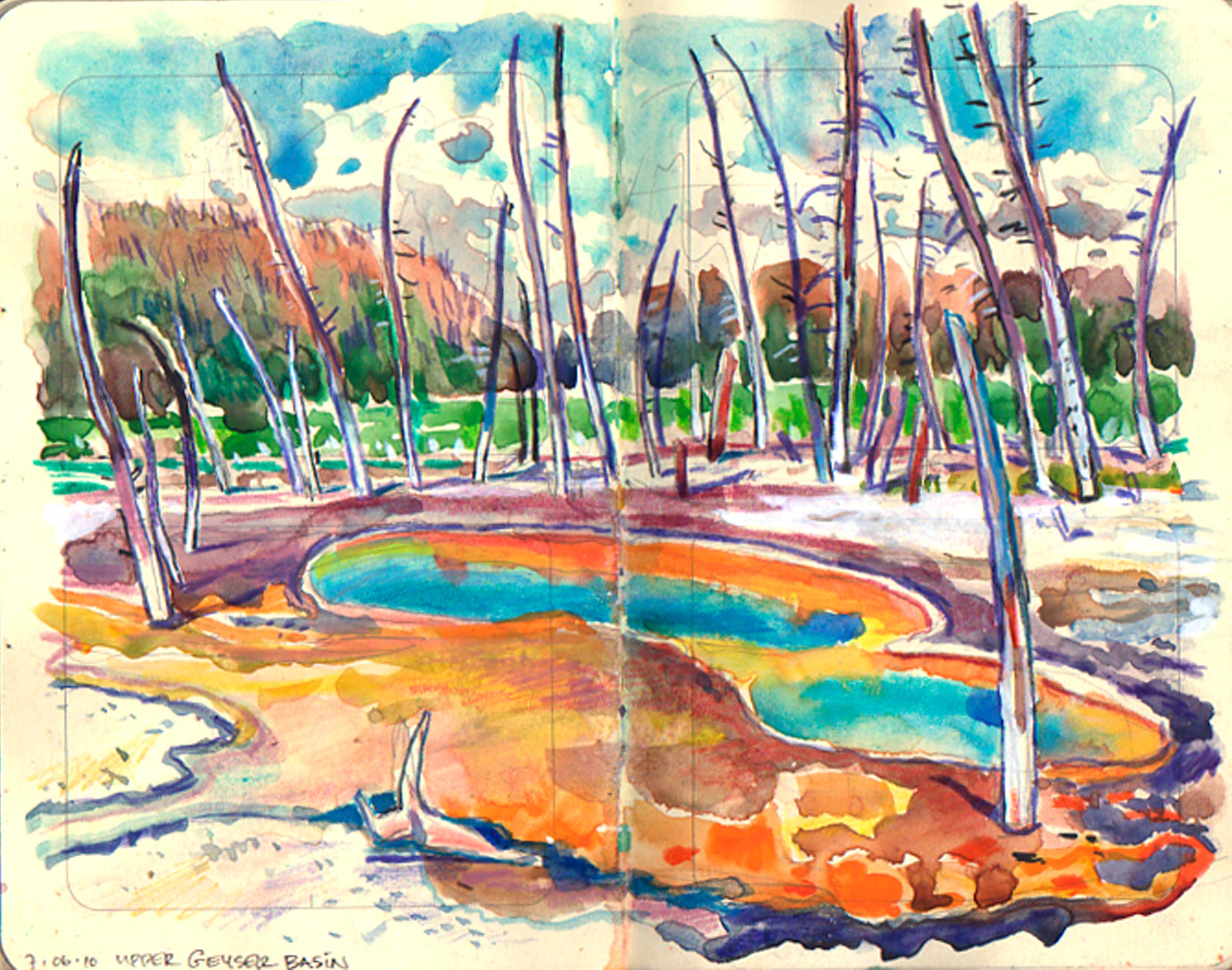 Yellowstone hot pool & dead trees