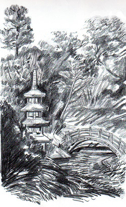 Bamboo wall & temple