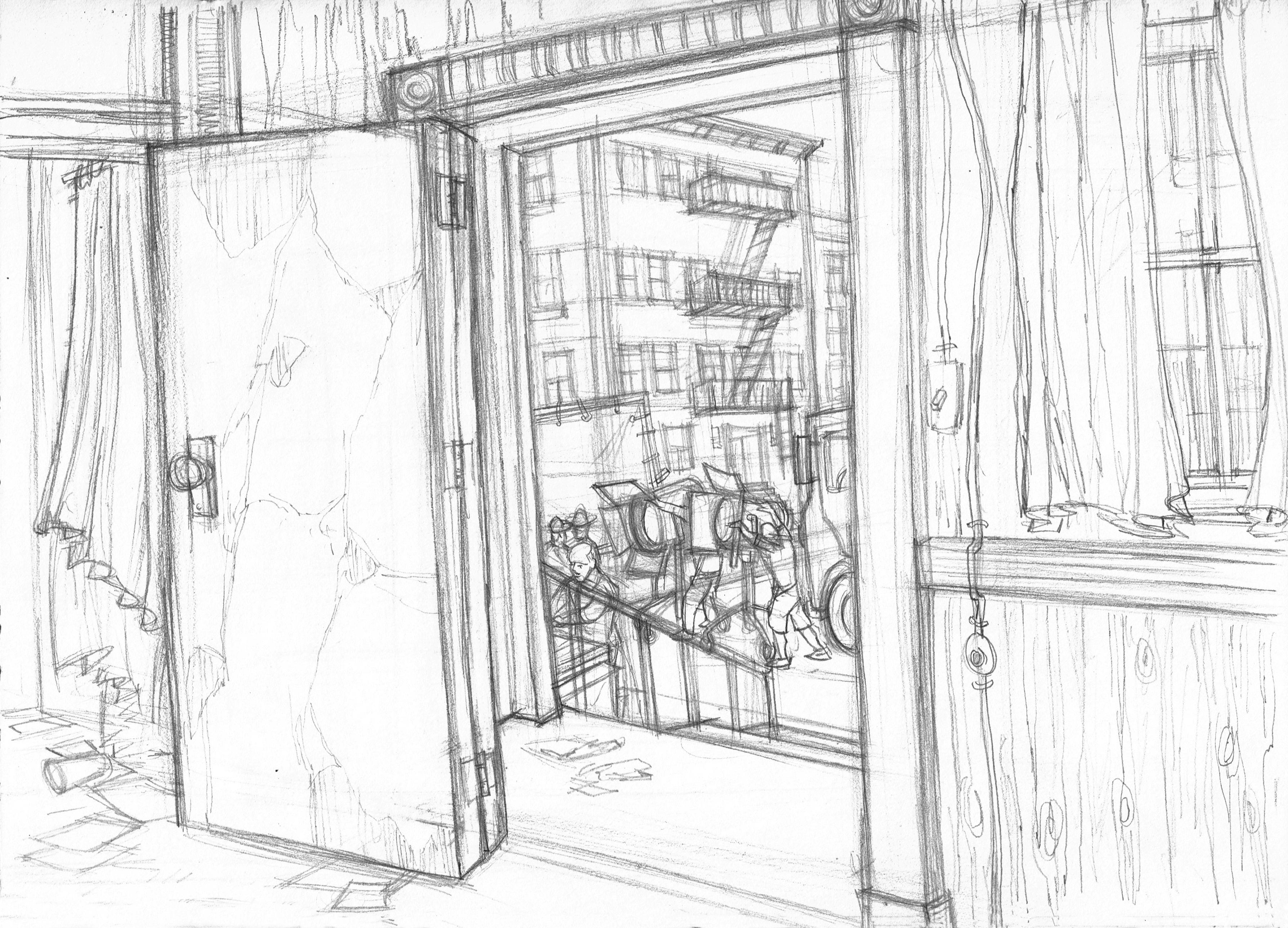 Paramount Worn Door Out to Set