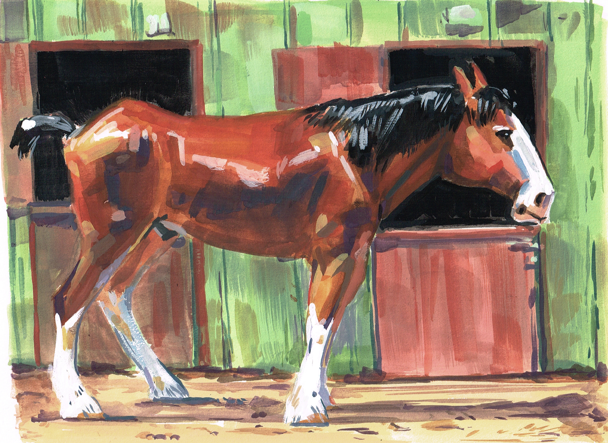 Horse Draft Stable SIDE Color