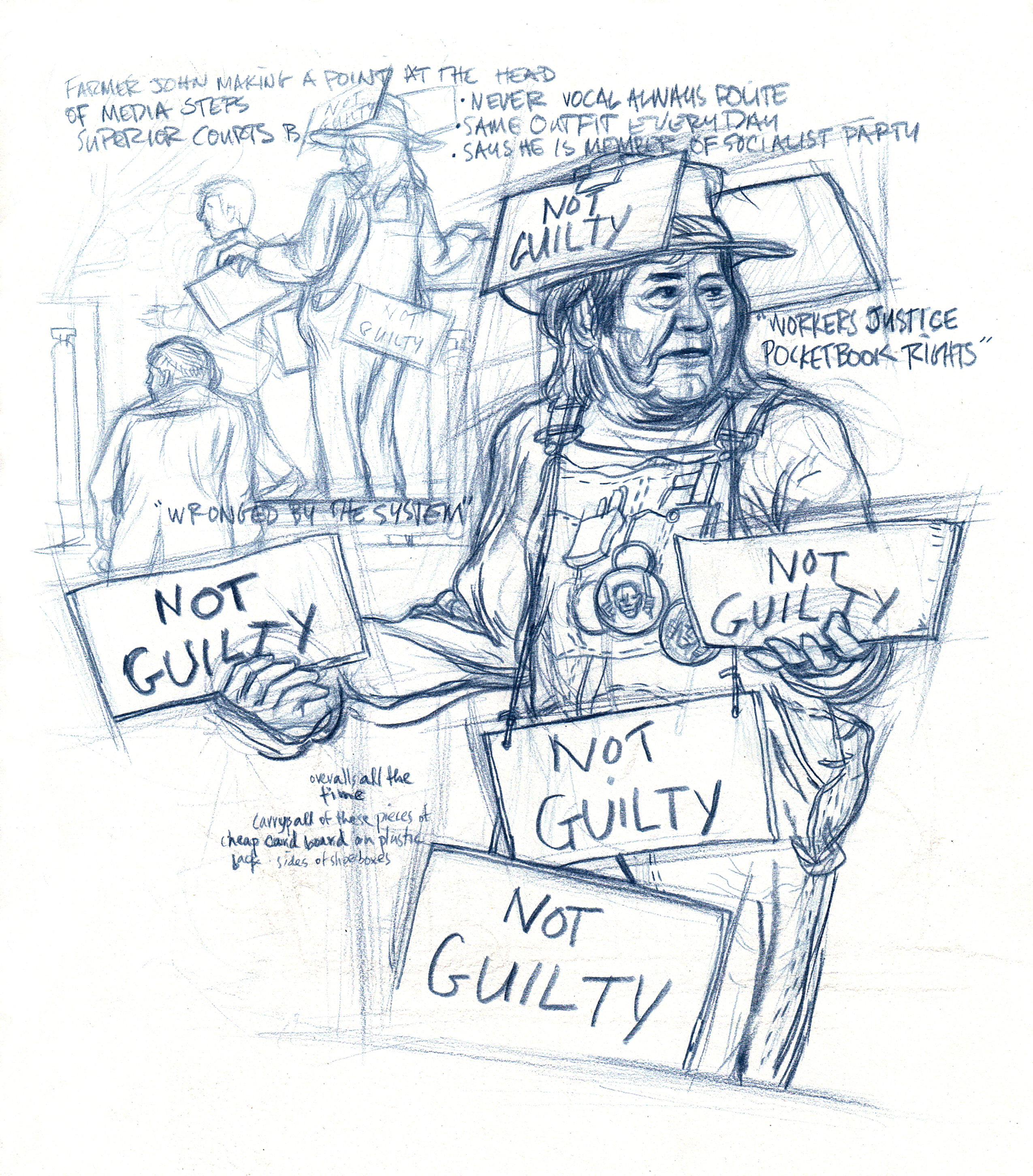 Homeless guy & not guilty signs