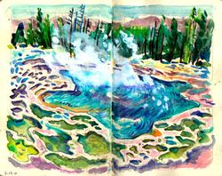 Yellowstone hot geyser pool