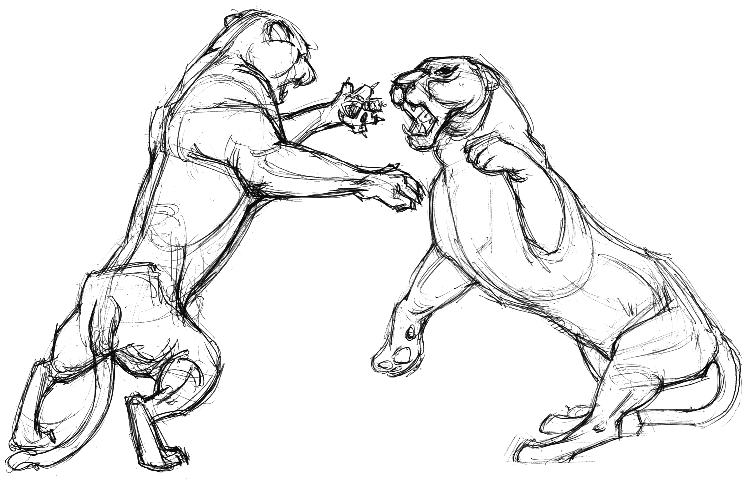 Cat 2 Lioness Fight stand