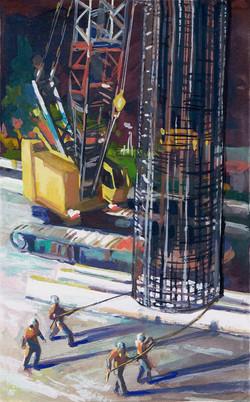 Venice Metro pillar, crane & men