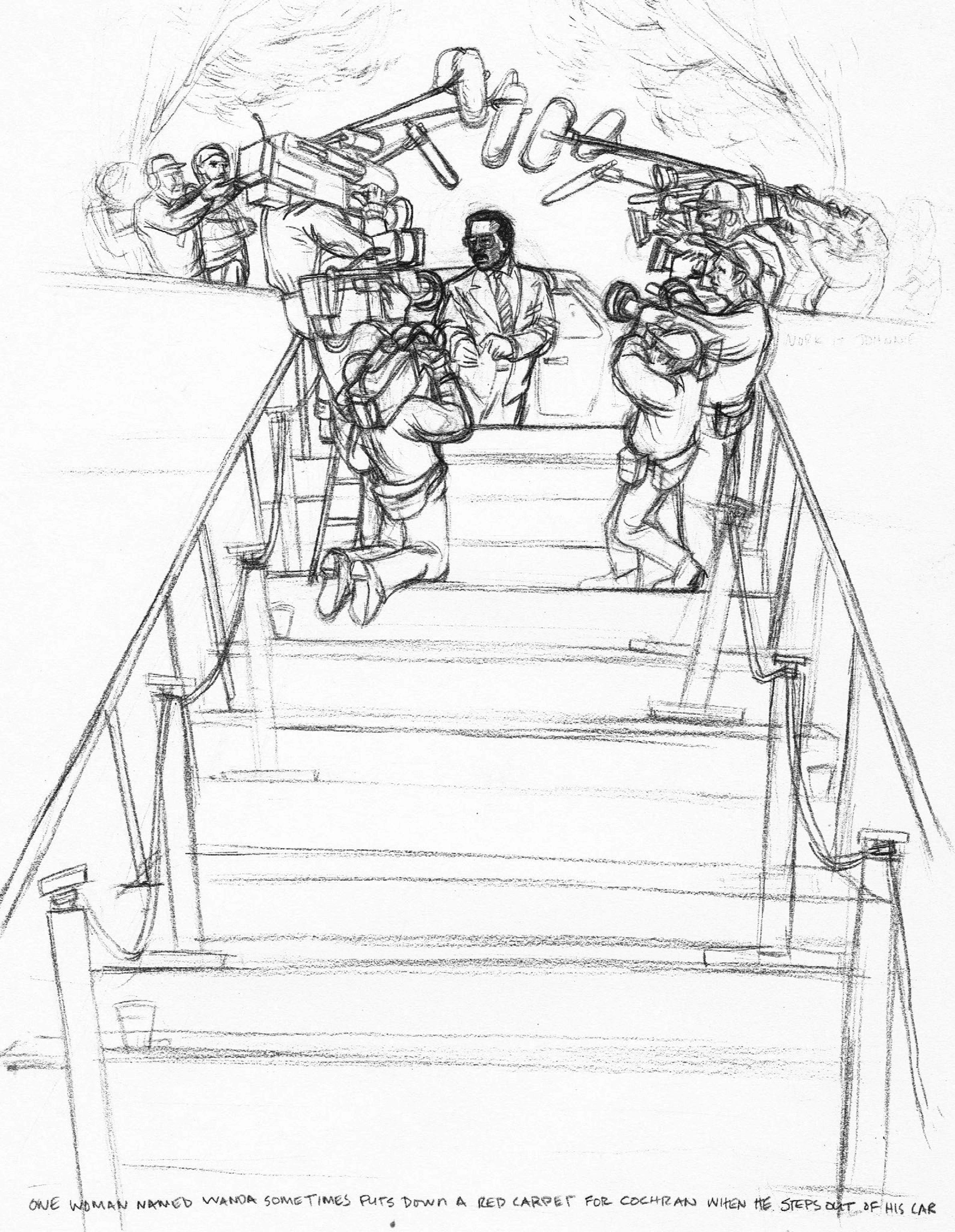 Mr. Johnny & Media Stair BW