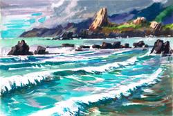 Big Sur Rock Cresent Waves