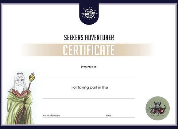 Seekers Adventurers Certificate