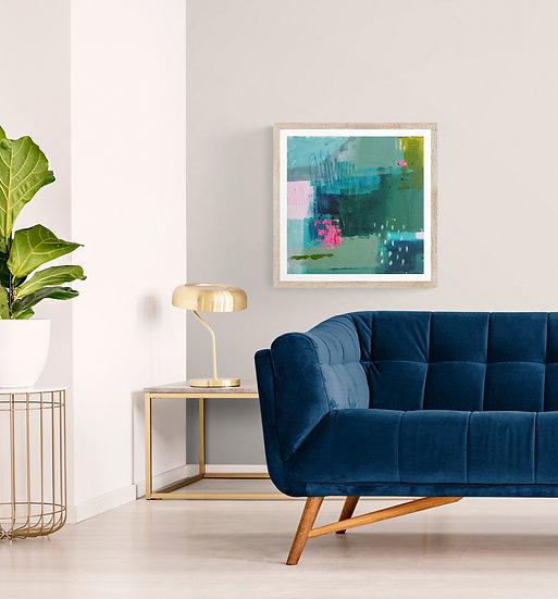 'Essence 3' // Irish abstract art // Green, blue, pink painting