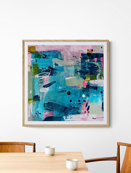 'Flourish 2' //50 X 50cm //Blue, Pink, original abstract painting on canvas