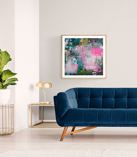 'Openness 1' // Irish Abstract Art // Pink, blue, green painting