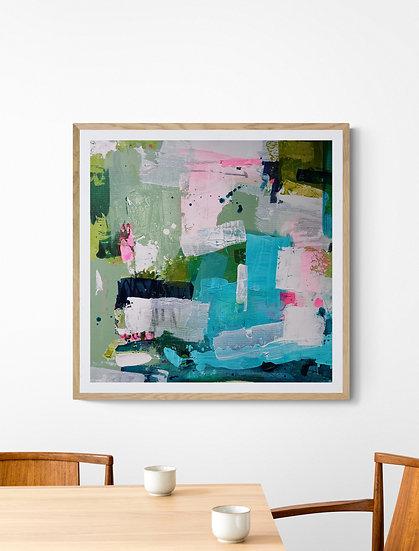 'Flourish 3' // 50 X 50cm // Blue, green original abstract painting on canvas